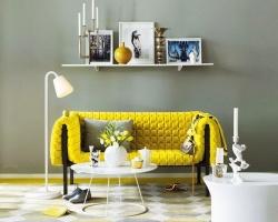 Cặp đôi vàng-xám cho phòng khách hiện đại, sang trọng tuyệt đối